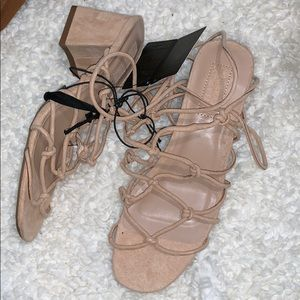 NWT nude lace up block heel